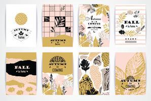 Set di carte autunnali creativi artistici.