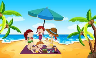 Persone sotto una scena di spiaggia ombrellone vettore