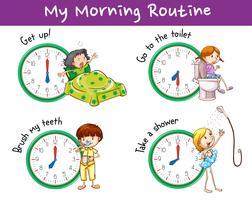 Design di poster con routine mattutina per bambini vettore