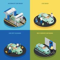 le icone di concetto dell'autolavaggio hanno messo l'illustrazione di vettore