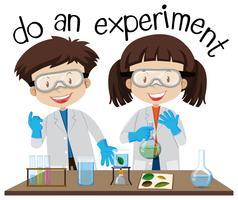 Due bambini che fanno esperimento in laboratorio di scienze