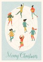 Illustrazione vettoriale di donne skate. Umore di Natale e Capodanno.