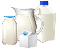 Set di latte su diversi contenitori vettore