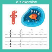 alfabeto lettera f-pesce esercizio,carta tagliata concetto illustrazione vettoriale