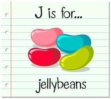 La lettera Flashcard J è per jellybeans