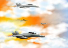 Quattro jet da combattimento nel cielo arancione vettore