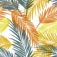 Modello esotico senza cuciture con foglie di palma. vettore