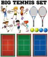 Giocatori e campi da tennis vettore
