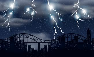 Tempesta e illuminazione sulla città