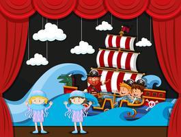 I bambini recitano sul palco vettore