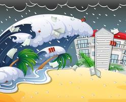 Tsunami che colpisce il ricorso di spiaggia vettore