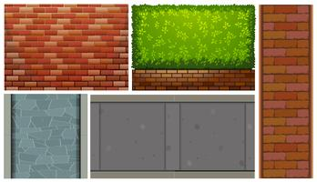 Muri di mattoni e cespuglio verde vettore