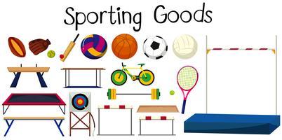 Set di molte attrezzature sportive