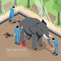 illustrazione isometrica di vettore dell'illustrazione dei lavoratori dello zoo