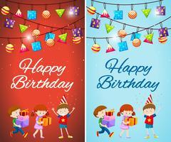 Due modelli di modello di carta di compleanno con bambini e regali vettore