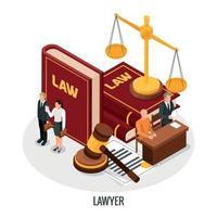 illustrazione vettoriale di composizione isometrica di libri di avvocato