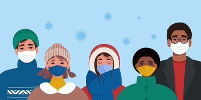 persone in maschera e vestiti caldi. concetto di pandemia di coronavirus covid-19 vettore