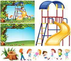 Scena di parco giochi con bambini felici vettore