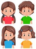 Set di carattere femminile bruna vettore