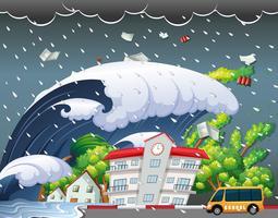 Tsunami ha colpito l'edificio scolastico vettore