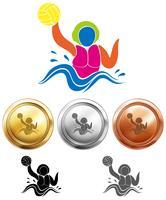 Icona di pallanuoto e medaglie sportive vettore