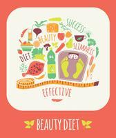 Illustrazione vettoriale di dieta di bellezza.
