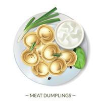 illustrazione vettoriale di composizione del piatto di gnocchi di carne