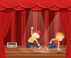 Il giovane esegue la danza hip-hop sul palco vettore