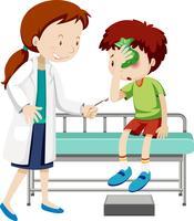 Dottore aiutando il ragazzo ferito vettore