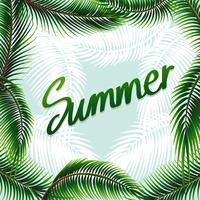 Priorità bassa di tema di estate con foglie verdi vettore