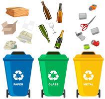 Set di cestino della spazzatura diverso