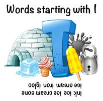 Foglio di lavoro inglese per parole che iniziano con I vettore
