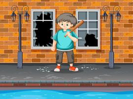 Il giovane ragazzo ha colpito la finestra