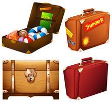 Set di valigie diverse vettore