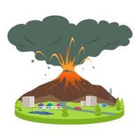 eruzione del vulcano nell'illustrazione vettoriale del fumetto di una piccola città city