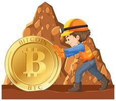 Una moneta cyber di estrazione mineraria del lavoratore