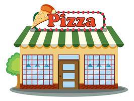 Un negozio di pizza su sfondo bianco vettore