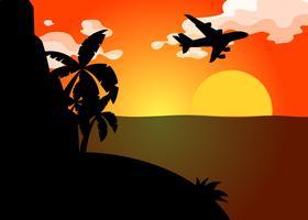 Scena della siluetta con l'aeroplano che sorvola oceano al tramonto vettore