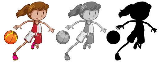 Set di giocatore di basket femminile vettore