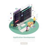 illustrazione vettoriale di sfondo di sviluppo app isometrica