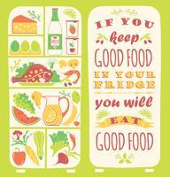 Sfondo di mangiare sano con citazione