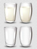Set di bicchiere di latte vettore