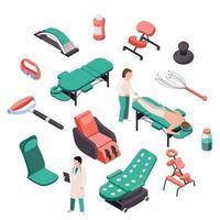 illustrazione vettoriale set isometrica terapia di massaggio