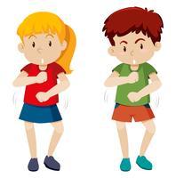 due bambini che ballano sfondo bianco vettore