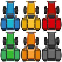 Vista dall'alto di trattori in diversi colori