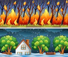 Scene con incendi boschivi e tempeste vettore