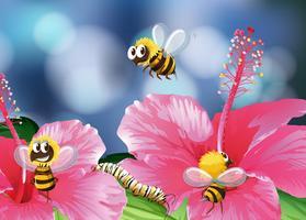 Le api volano in giardino vettore