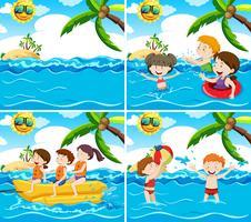 Insieme di varie scene di spiaggia