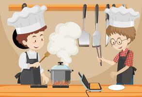 Amico che cucina in cucina vettore