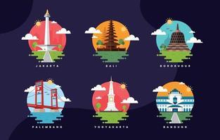 icona piatta dei punti di riferimento dell'indonesia vettore
